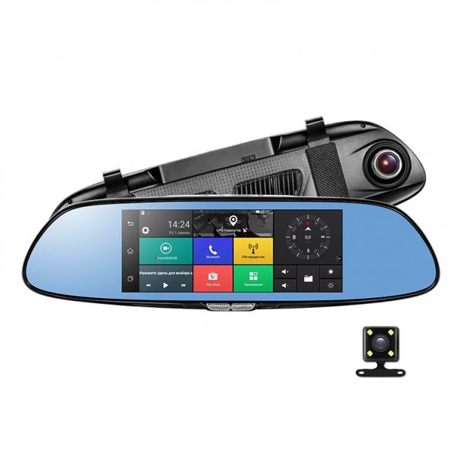 6в1 Огледало за кола LEOS C08 7 инча GPS   Таблет   4G   DVR   КАМЕРА ЗА ПАРКИРАНЕ