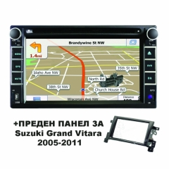 Двоен дин 8815 с WinCE 6.0, GPS, DVD + ПРЕДЕН ПАНЕЛ за Suzuki Grand Vitara (05-11)